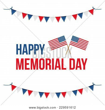 Memorial Day, Federal Holiday In The Usa, Illustration Or Card With National Flag.