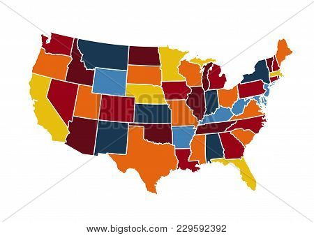Abstract Usa Map Illustration On White Background