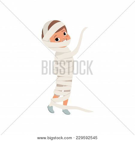 Cute Little Kid Wrapped In Bandages, Boy In The Costume Of The Egyptian Mummy, Zombie Suit Vector Il