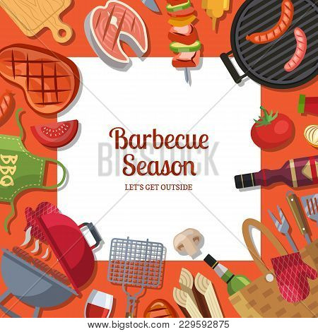 Vector Illustration With Barbecue Or Grill Cooking Theme With Place For Text. Bbq Cooking And Grill