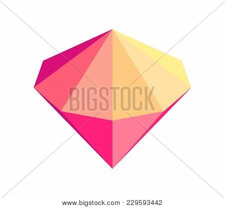 Unusual Iridescent Diamond Of Bright Gradient Color With Sharp Cone Top And Bottom Isolated Cartoon