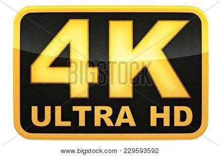 4k Ultra Hd Logo, Isolated Background, 3d Illustration