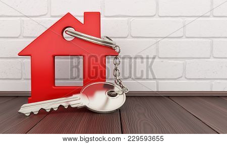 Abstract Red Home And Key. 3d Illustration