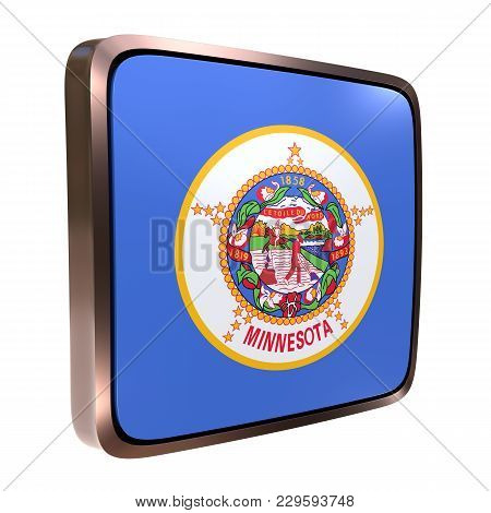 3d Rendering Of A Minnesota State Flag Icon With A Bright Frame. Isolated On White Background.