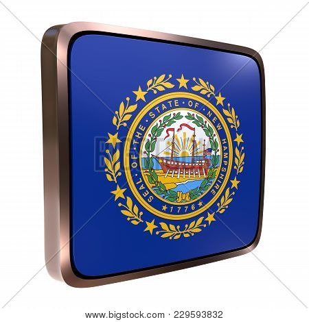 3d Rendering Of A New Hampshire State Flag Icon With A Bright Frame. Isolated On White Background.