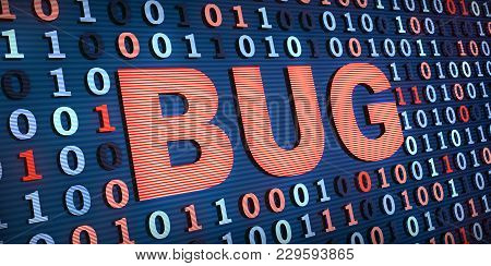Computer Bug And Binary Code. 3d Illustration