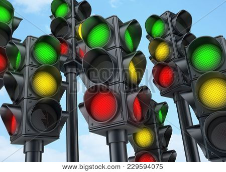 Many Traffic Lights Green, Yellow, Red. 3d Illustration