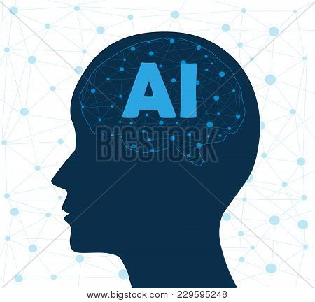 Concept Of Artificial Intelligence With Human Head. Networks Design Concep