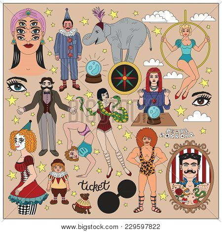 Vintage Circus Illustrations Collection. Flash Tattoes Set. Lineart Illustrations For Adult Coloring