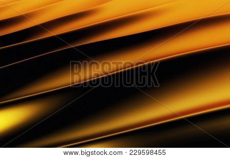 Gold Silk Drapery And Fabric Background. 3d Rendering