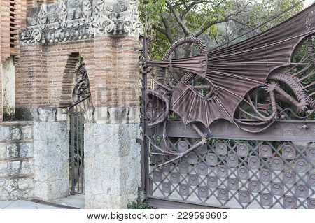 Barcelona,spain-january 31,2013: Pavilions,pavellons Guell,modernist Style By Antoni Gaudi,door Entr