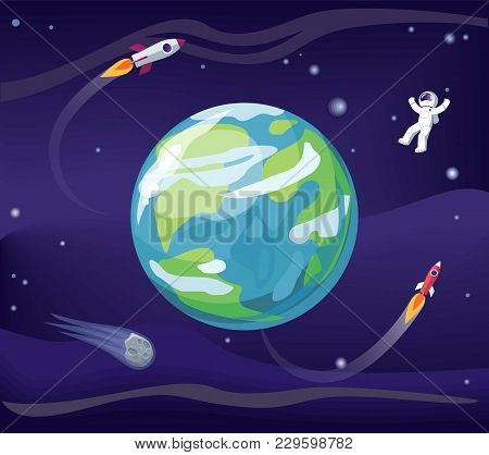 Earth And Spaceman, Wearing Spacesuit, Poster With Planet And Rockets, Stars And Flight And Explorat