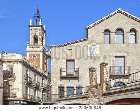 Barcelona,spain-september 29,2014: Neighborhood Horta, Facade Street Buildings View, Barcelona.