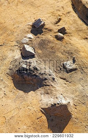Archaeological Finds Of The Early Iron Age On The Surface Of The Excavation Before They Are Extracte