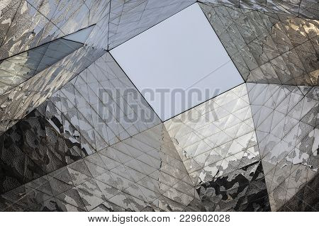 Barcelona,spain-may 19, 2014: Abstract Ceiling Modern Architecture In Building Forum,museum,museu Bl