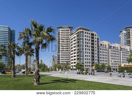 Barcelona,spain-may 6,2013: Modern Architecture Buildings In Diagonal Mar District, Forum Zone.