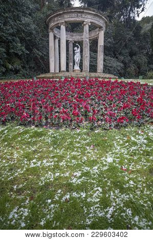 Barcelona,spain-february 23,2013: Garden,jardins Joan Maragall In Park,parc De Montjuic,romantic Str