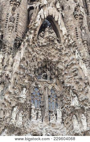 Barcelona,spain-february 8,2013: Basilica, Temple Expiatori De La Sagrada Familia, By Antoni Gaudi.