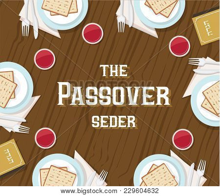Traditional Passover Table With Passover Plate And Haggadah Book. Vector Illustration