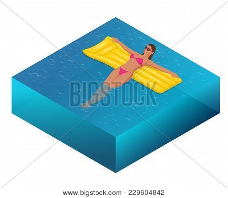 Enjoying Suntan Concept. Summer Vacation. Isometric Woman In Bikini On The Yellow Air Mattress In Th