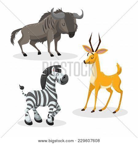 Cartoon Trendy Style African Artiodactyls  Set. Gnu, Antelope, Gazelle, Wildebeest And Zebra. Closed