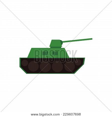 Flat Style War Tank, Armored Vehicle Icon, Vector Illustration Isolated On White Background. Flat St