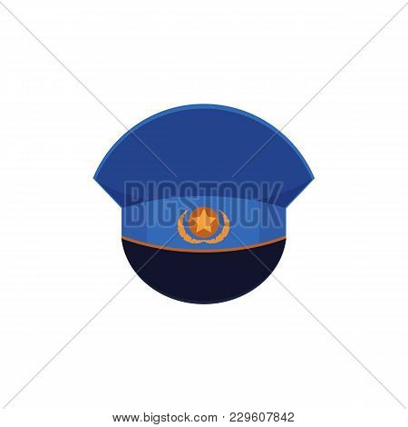 Flat Style Cartoon Military Cap With Cockade Icon, Vector Illustration Isolated On White Background.