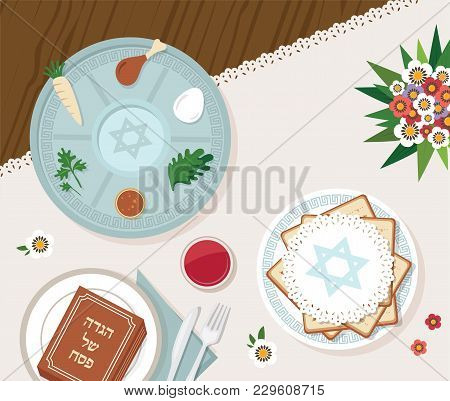 Traditional Passover Table For Passover Dinner With Passover Plate. Vector Illustration Template