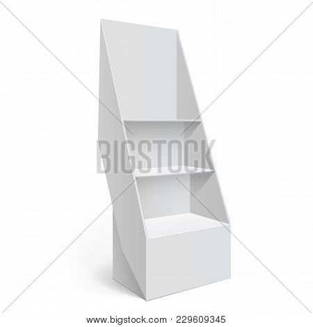 Promotion Counter, Retail Trade Stand Isolated On The White Background. Mockup Template For Your Des