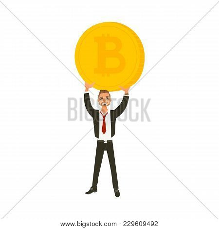 Man, Businessman In Business Suit Holding A Giant Coin With Btc Symbol, Flat Cartoon Vector Illustra