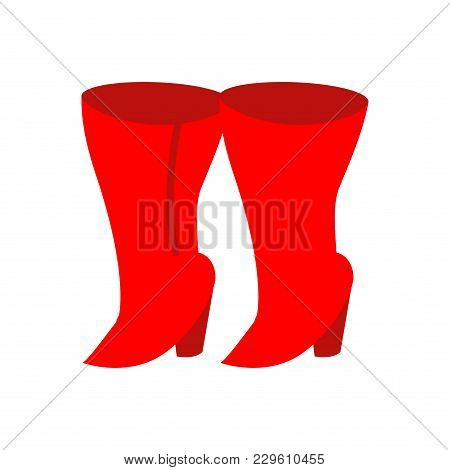 Female Red Boots Isolated. Womens Shoes Vector Illustration
