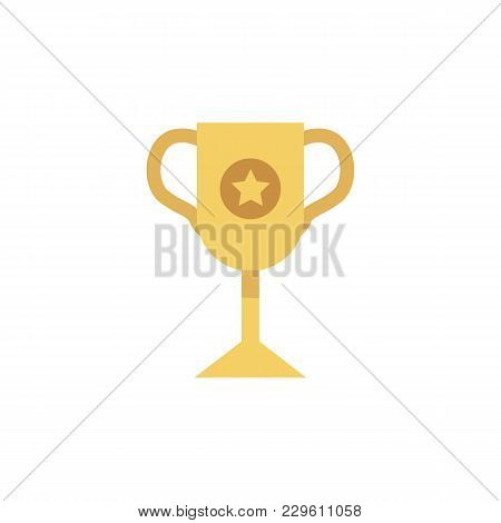 Vector Flat Golden Winner Cup Icon. First Place Award Prize Championship Symbol. Business Leadership