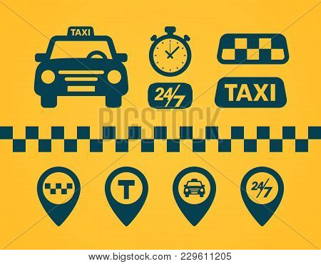 Taxi Icons Set. Flat Style Dark Icons On Yellow Background. Map Pin With Taxi Car, Checks, Map Pins,