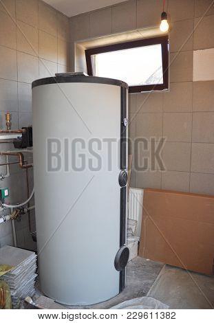 Installing Solar Water Tank In Boiler Room. Solar Water Heating System.