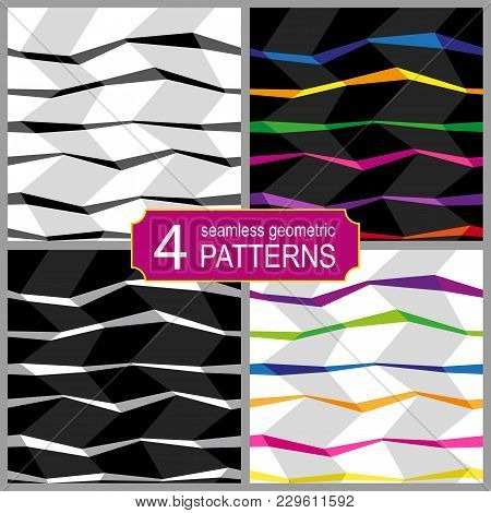 Abstract Set Of Vector Seamless Op Art Pattern With Zig Zag Lines. Colorful Graphic Ornament Striped