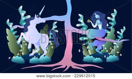 Sleek Illustration Of Magic Beast Mermaid And Unicorn In The Forest