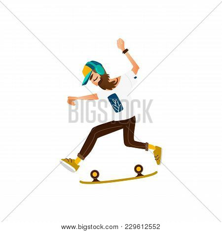 Young Hipster Man With Beard, Moustache And Headphones Riding Skate, Skateboard, Flat Cartoon Vector