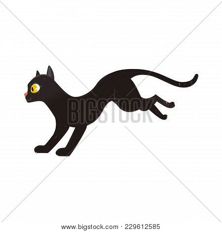 Cute Fluffy Black Cat Running, Side View Portrait, Flat Cartoon Vector Illustration Isolated On Whit