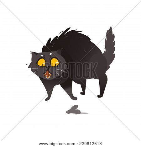 Cute Fluffy Fat Black Cat Scared Of Little Mouse, Showing Hackles, Flat Cartoon Vector Illustration