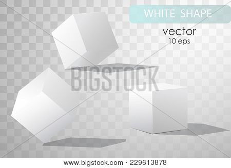 Set Of White Cubes In Different Projections. Geometric Surfac. Rotate The Cube. Isolated Objects On