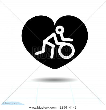 Heart Vector Black Icon. The Man Rolls The Wheel, Pushing A Wheel In Heart. Valentines Day Sign, Emb