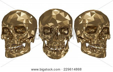 The Golden Low Poly Skulls With White Background 4k