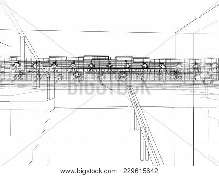 Soccer Stadium Or Football Arena Concept. Vector Rendering Of 3d. Wire-frame Style. The Layers Of Vi