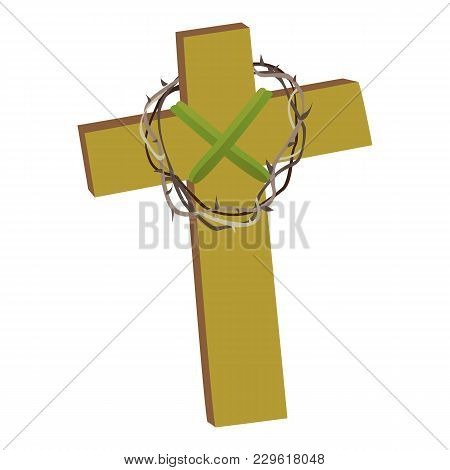Cross With Crown Of Thorns Isolated On White Background Vector Illusatration, Christianity Religius