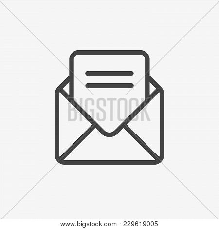 Envelope With Letter Vector Icon, Mail Icon. Message, Address, Inbox, Post Letter Sign. Email Newsle