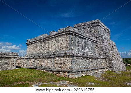 Majestic Ruins In Tulum.tulum Is A Resort Town On Mexicos Caribbean Coast. The 13th-century, Walled