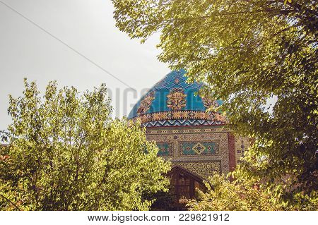 Blue Mosque. Elegant Islamic Masjid Building. Travel To Armenia, Caucasus. Touristic Architecture La