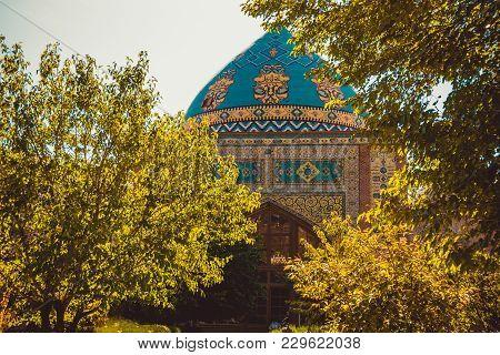 Blue Mosque Main Entrance. Elegant Islamic Masjid Building. Travel To Armenia, Caucasus. Architectur