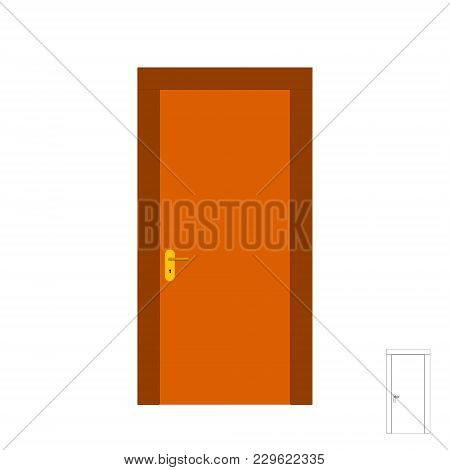 Closed Door. Isolated On White Background. 3d Vector Illustration. Front View.