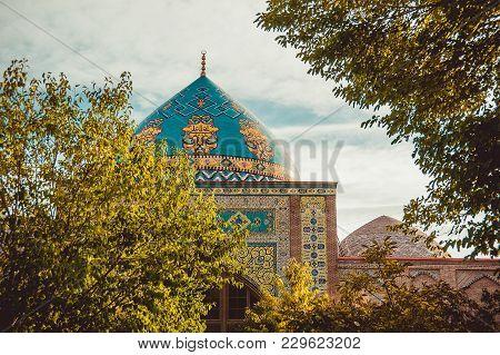 Blue Mosque Dome. Elegant Islamic Decorated Masjid Building. Travel To Armenia, Caucasus. Touristic